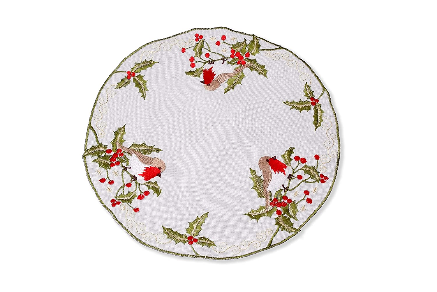 Christmas Robin Table Linen - Table Cloth, Table Runner, Doyley, Mantle Runner, Doyley or Coaster (Doyley 4.5