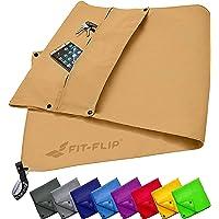Fitness Handtuch Set mit Reißverschluss Fach + Magnetclip + extra Sporthandtuch   zum Patent angemeldetes Multifunktionshandtuch, Microfaser Handtuch