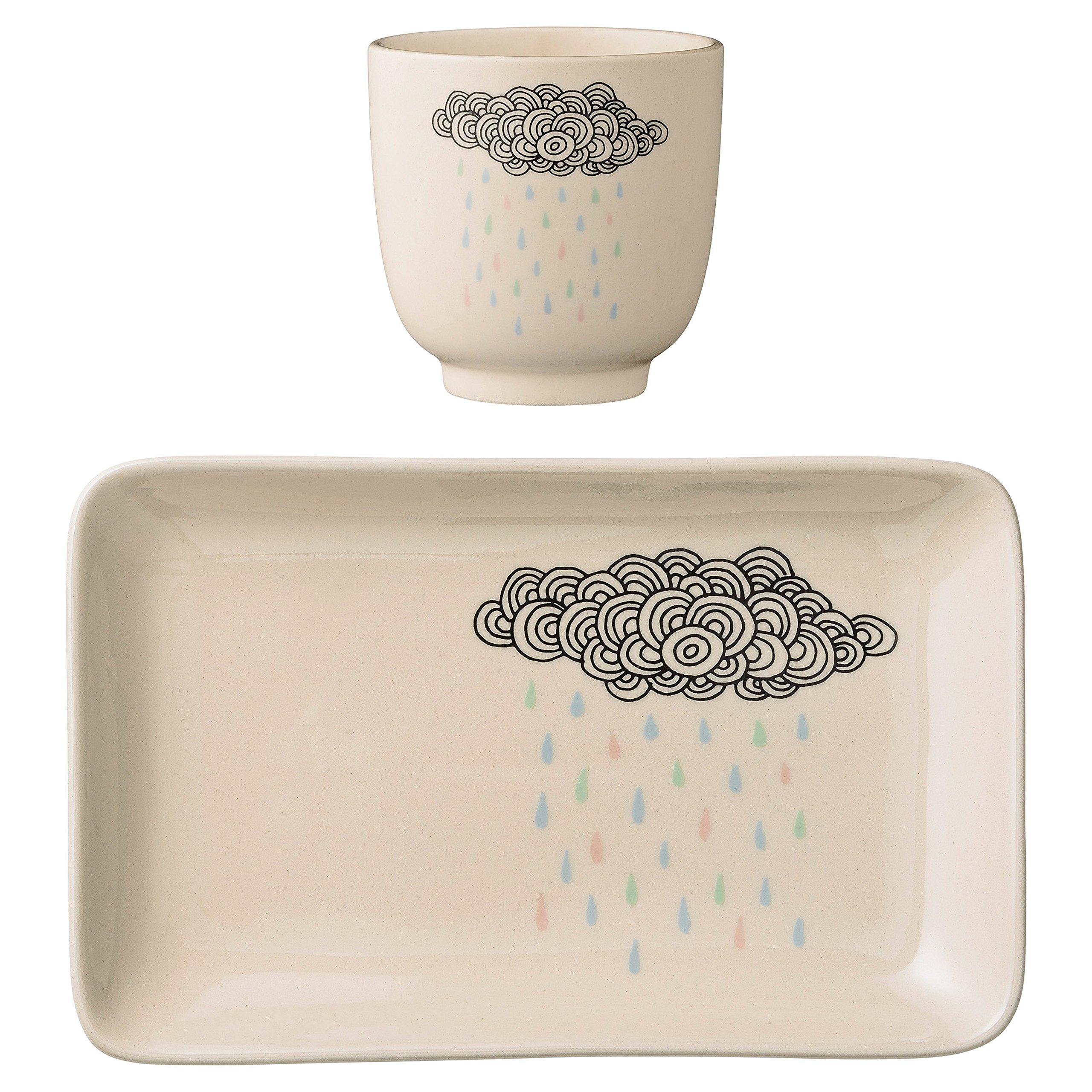 Bloomingville A21100638 Ceramic Rain Cloud Plate and Cup Set, Multicolor