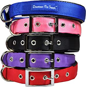 Downtown Pet Supply Deluxe Adjustable Thick Dog Collar, (Purple, XLarge)