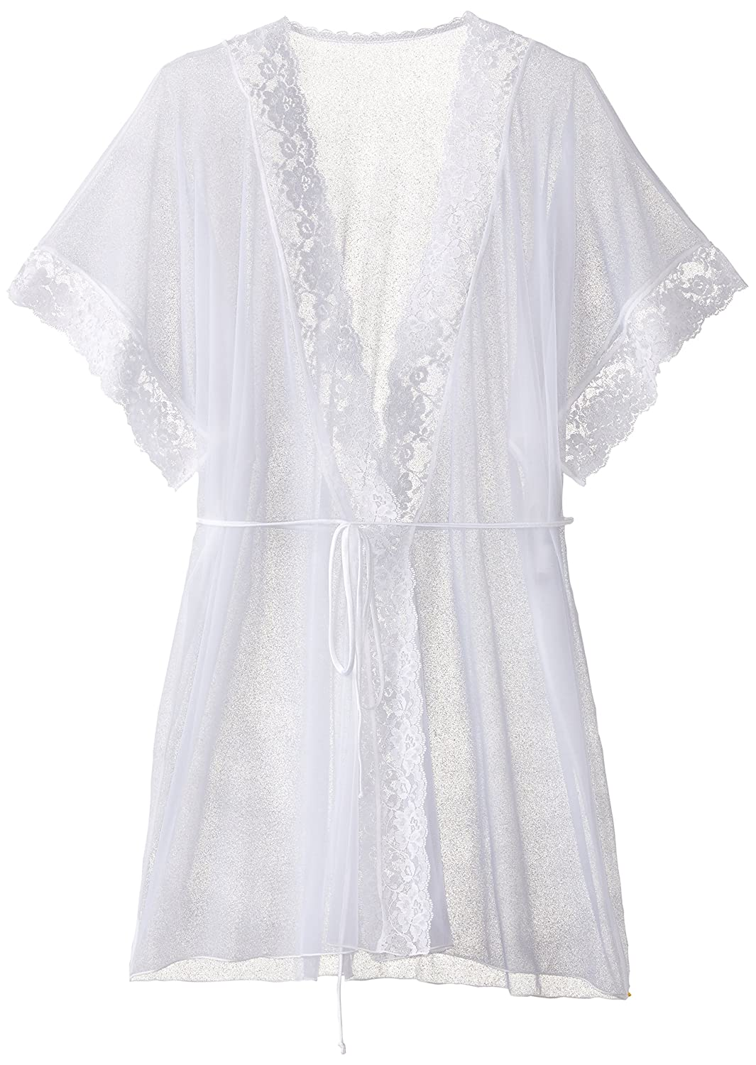 Shirley of Hollywood Women's Sheer Lace Trimmed Robe Black One Size 96046