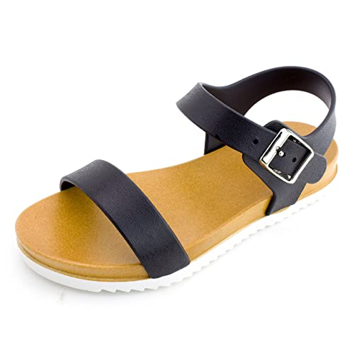 8fdb5ba424a Kali Girls Open Toe Gladiator 2 Strap Flat Sandals
