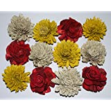 CRAFTWAFT RED Yellow White Rose Loose Handmade Flower Pack of 25