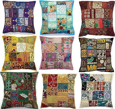 10 fundas de cojín bordadas con diseño de Sari, 43 x 43 cm, hechas ...
