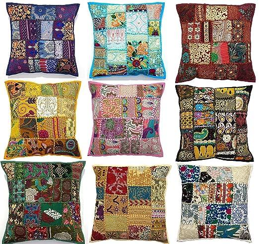 10pc bordado sari Patchwork Funda para cojín, 17 x 17