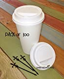 100 Sets 20 oz Paper Coffee Cup Solo Disposable White Hot Cup with Cappuccino LIDS