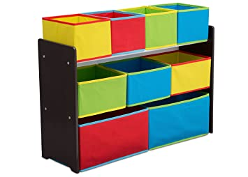 Delta Children Deluxe Multi Bin Toy Organizer With Storage Bins, Dark  Chocolate/Primary
