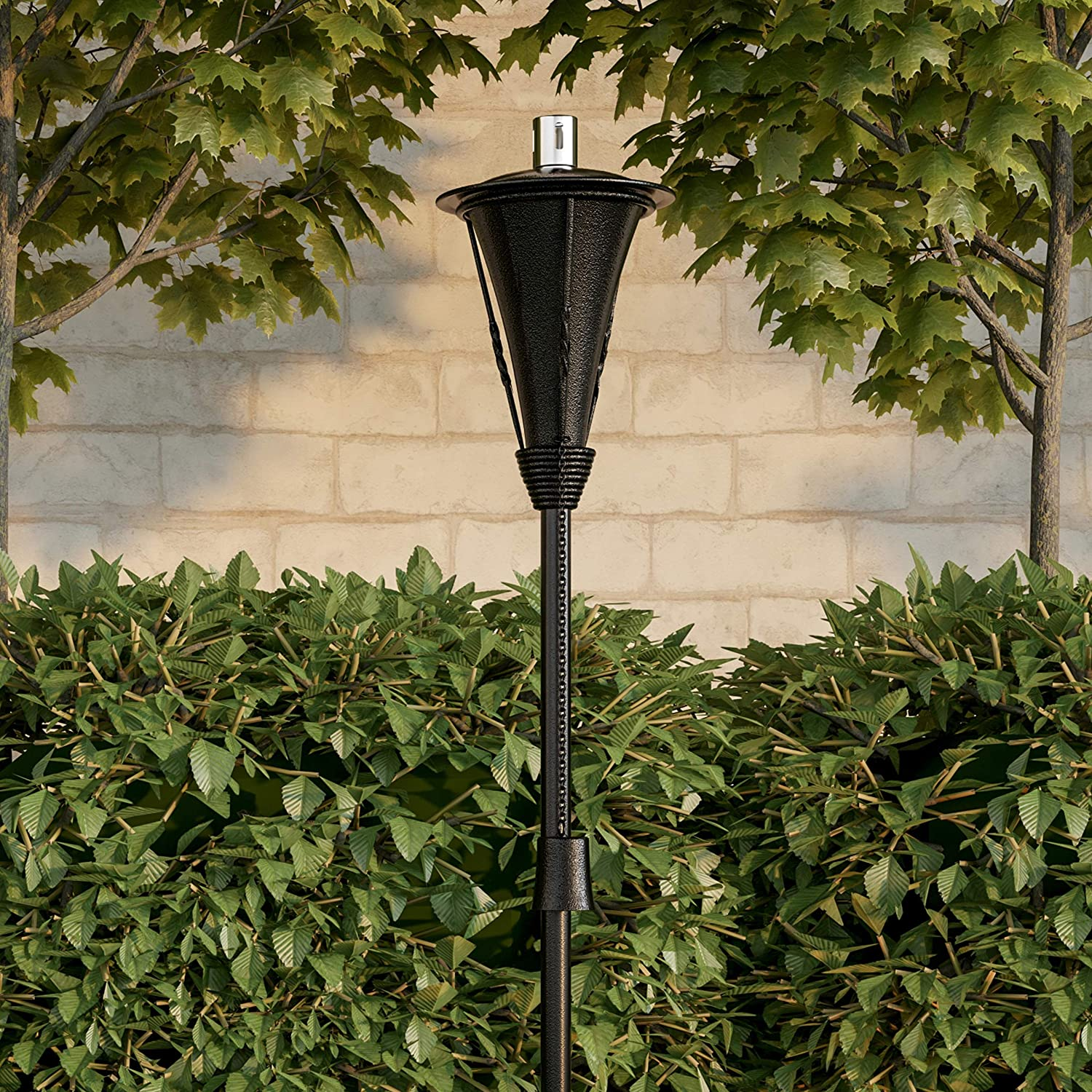 "Pure Garden 50-222 Outdoor Torch Lamp-45"" Metal Fuel Canister Flame Light for Citronella with Fiberglass Wick, Adjustable Height for Backyard, Patio"