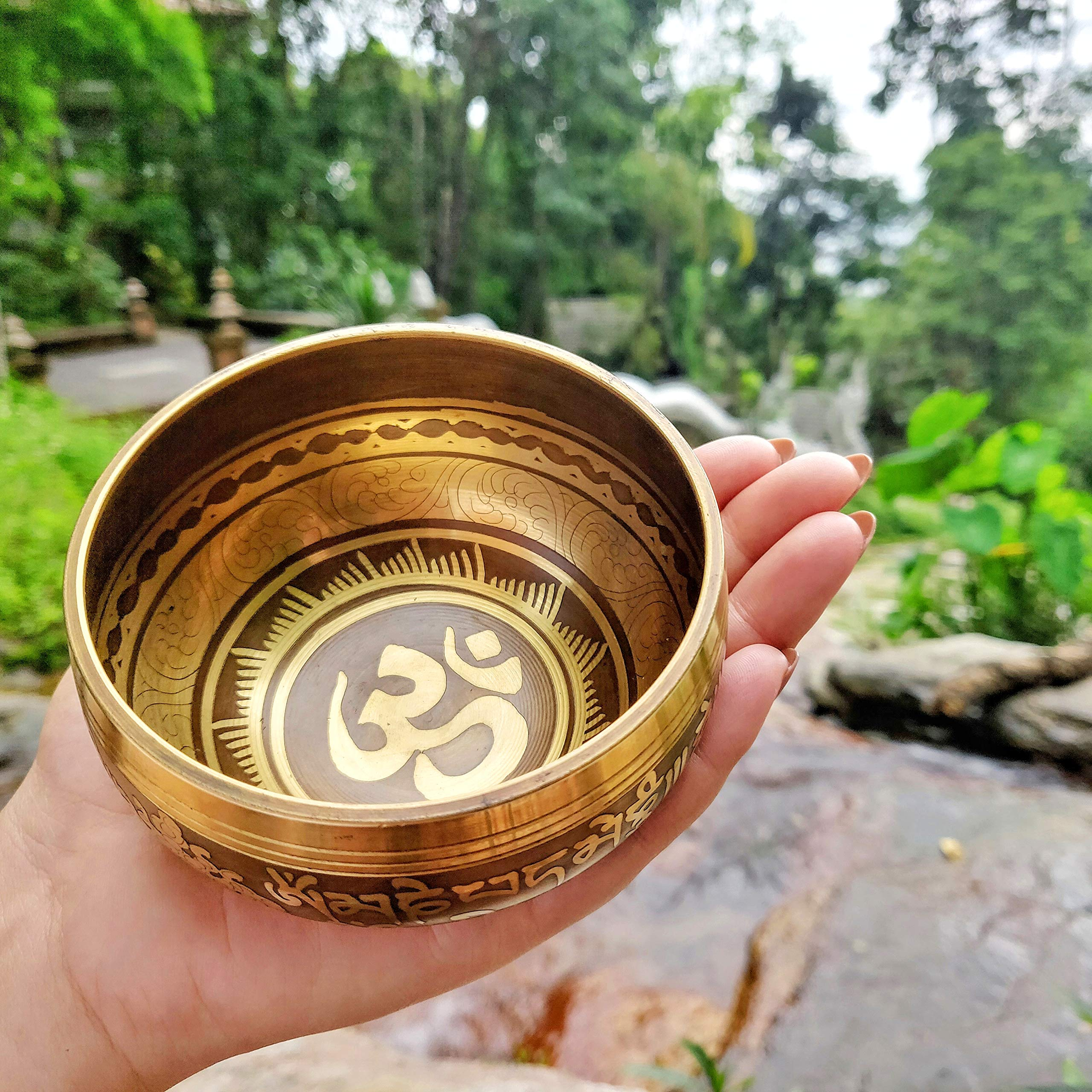 Tingsha Tibetan Singing Bowl Set by Zen Mind Design - with Tingsha Cymbals, Weighted Mallet, Handmade Cushion, Eco-Friendly Box and E-Book - for Yoga and Stress Relief Meditation by Zen Mind Design (Image #3)
