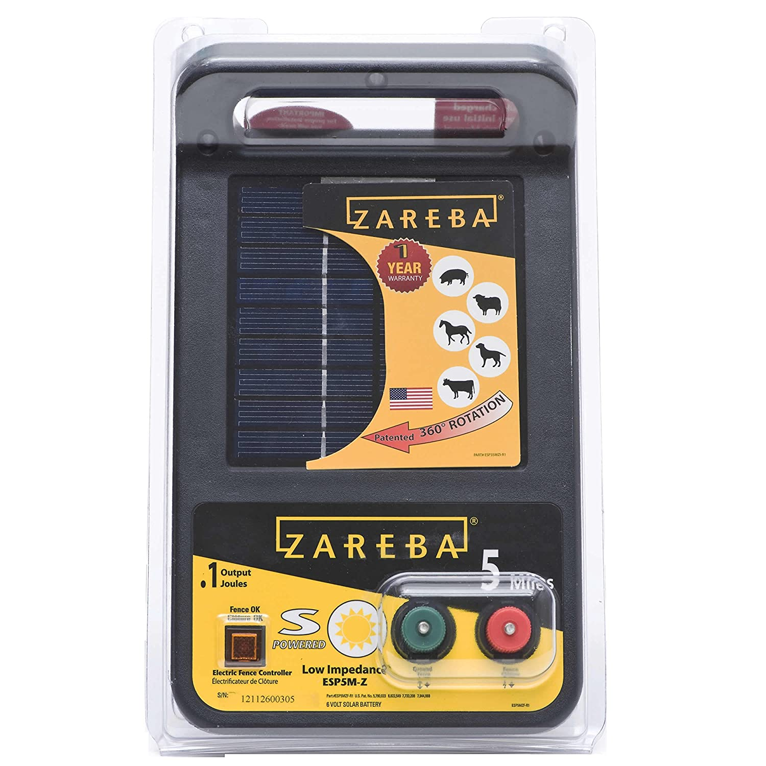 zareba esp5m z 5 mile solar low impedance charger
