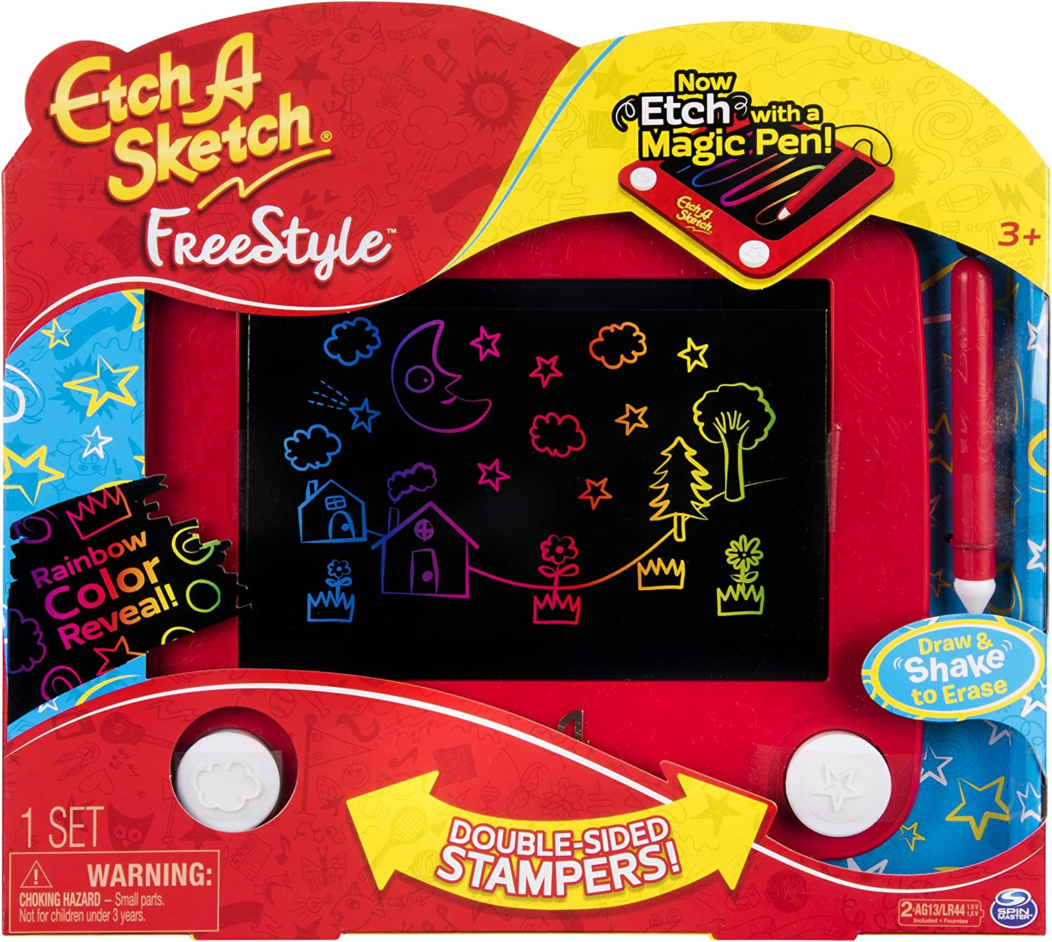 Etch A Sketch doodle Draw /& Slide To Erase No Knobs No Shake Various Colors
