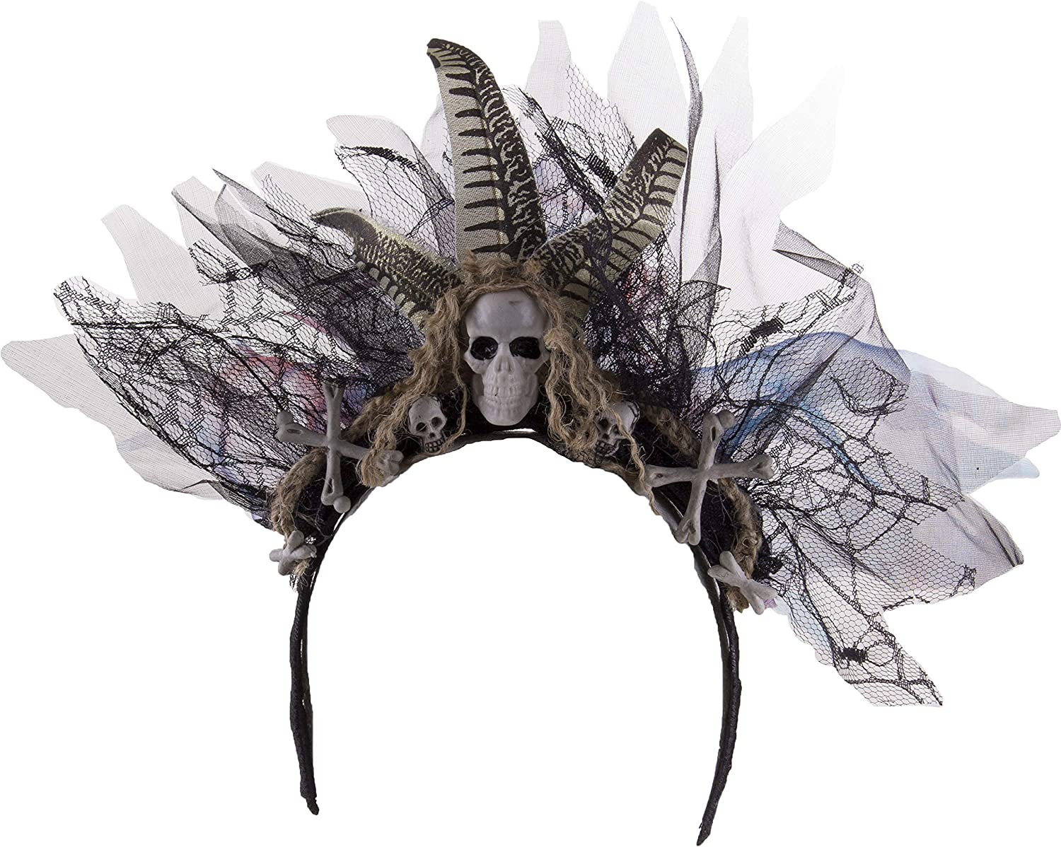 Jay Hats Halloween Accessory- Witch Doctor Voodoo Headband w/Skull & Crossbones