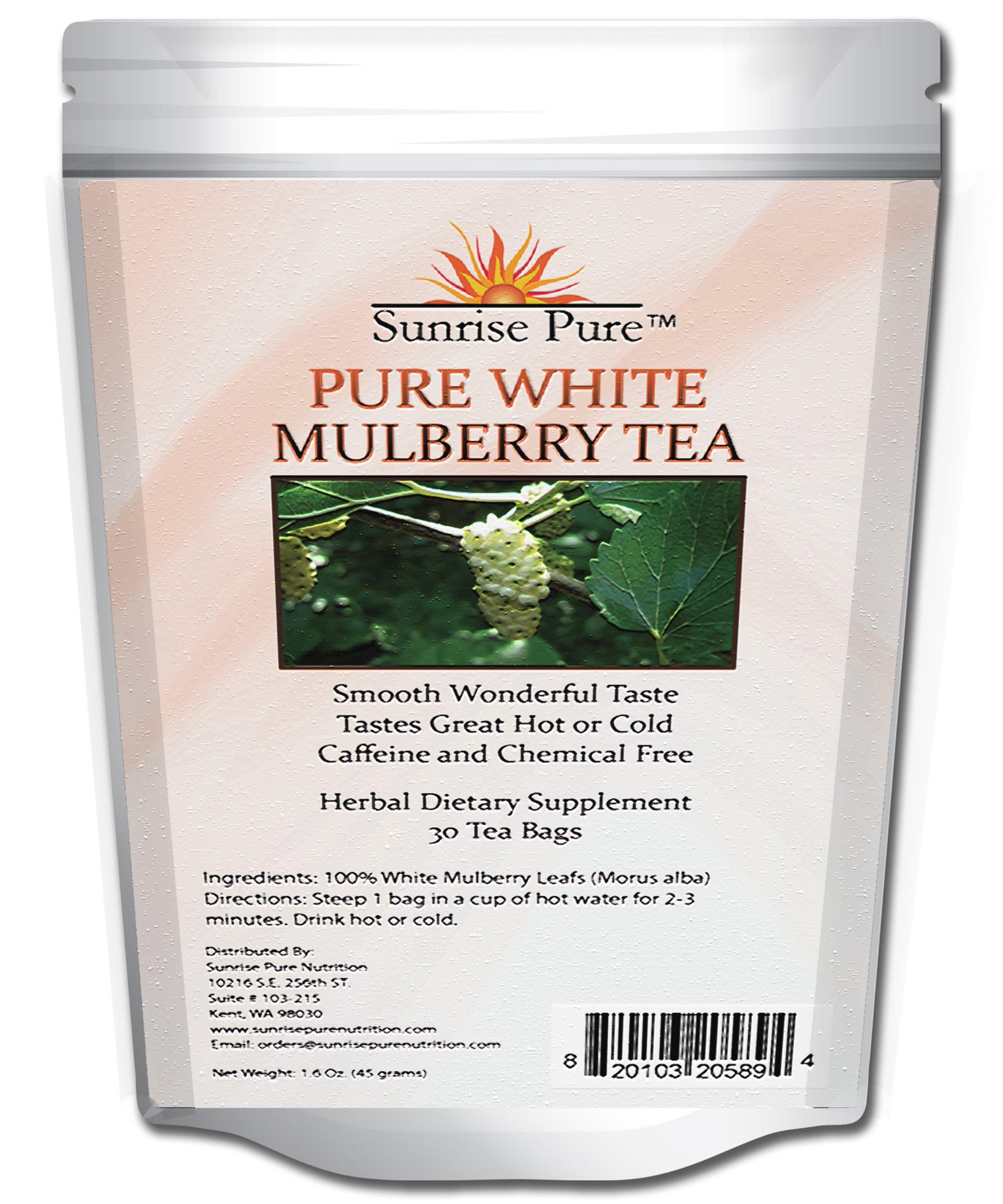 Mulberry Tea - White | Blood Sugar Controller Tea | Great Hot or Cold | White Mulberry Tea (Morus Alba) | Caffeine Free | Great Reviews | Weight Loss Tea | Sunrise Pure Nutrition Guarantee