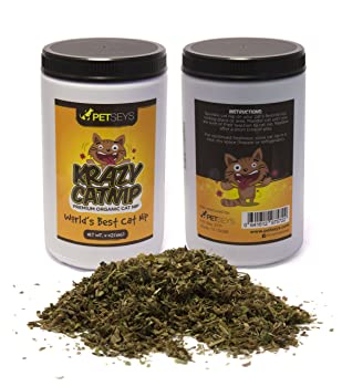 Petseys Krazy Catnip Organic Formula for Cats, Stimulates Playful Behavior for All Cats, Made in USA