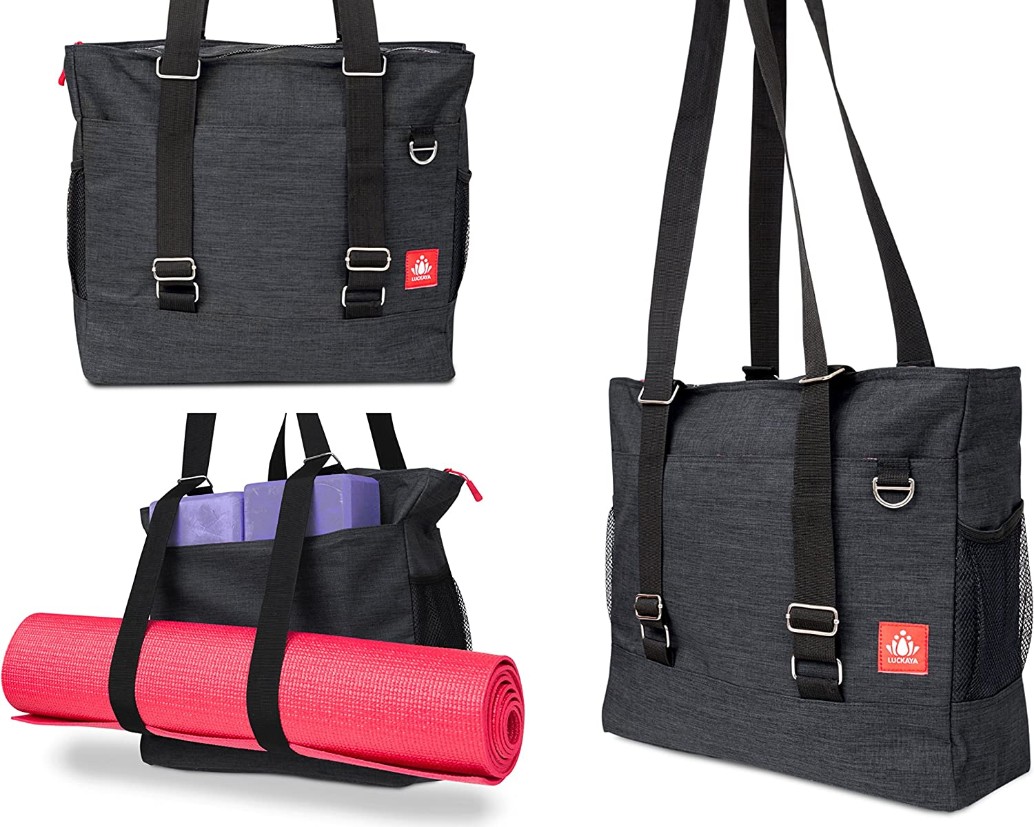 LUCKAYA Yoga Mat Bag/Tote Bag/Backpack: Multi Purpose Carryall Bag for Office,Yoga,Travel and Gym! Carry Your Mat of Any Size,Laptop and Gear in One ...