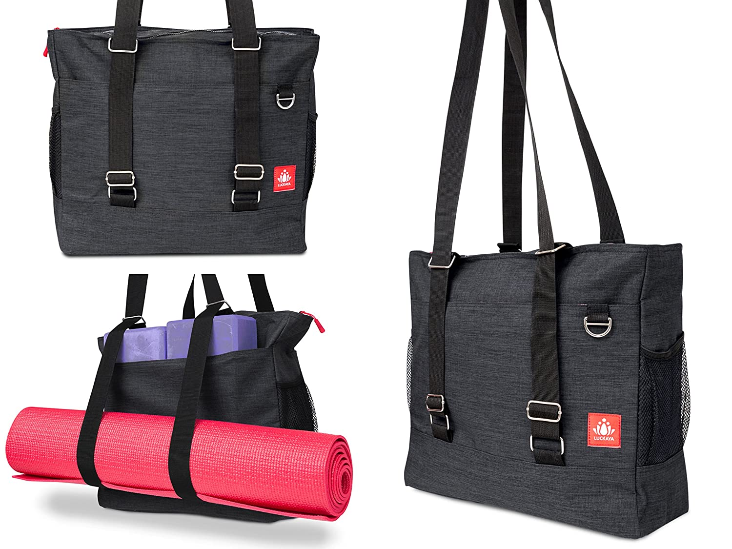 6532ba51be50 LUCKAYA Yoga Mat Bag/Tote Bag/Backpack: Multi Purpose Carryall Bag for  Office,Yoga,Travel and Gym! Carry Your Mat of Any Size,Laptop and Gear in  One ...