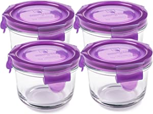 Wean Green Round Wean Bowls 5.4 Ounces Baby Food Glass Containers - Grape (Set of 4)