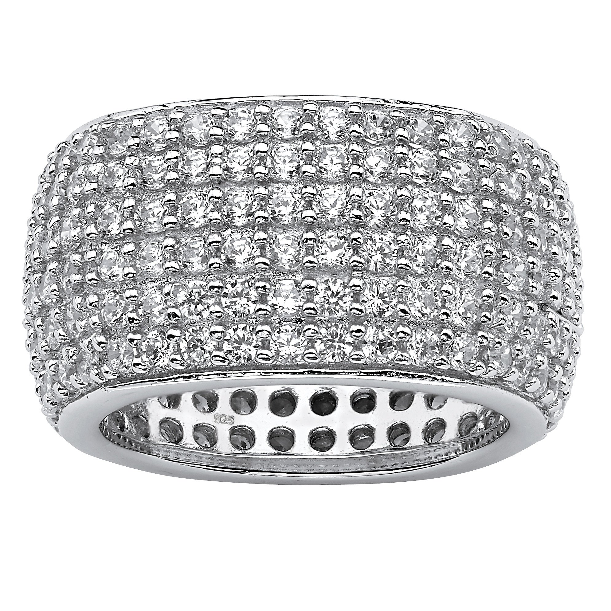 Pave White Cubic Zirconia .925 Sterling Silver Multi-Row Eternity Band Size 7