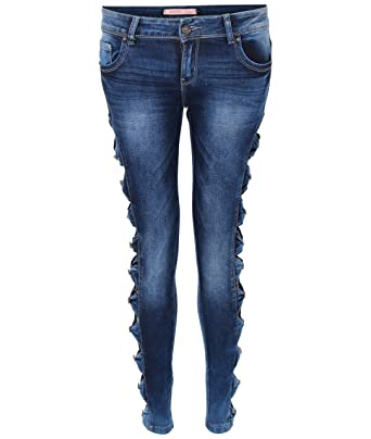 c8ca65eb2c71 KRISP® Damen Trend Jeanshosen Spitze Schleifen Sexy Skinny Röhrenjeans  Strass Slim Fit Hose Jeans Cut