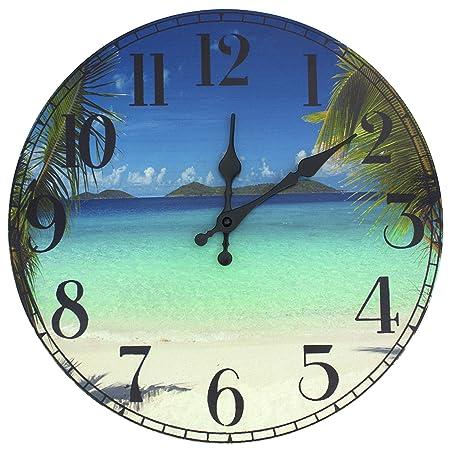 ORIENTAL Furniture Caribbean Beach Wall Clock