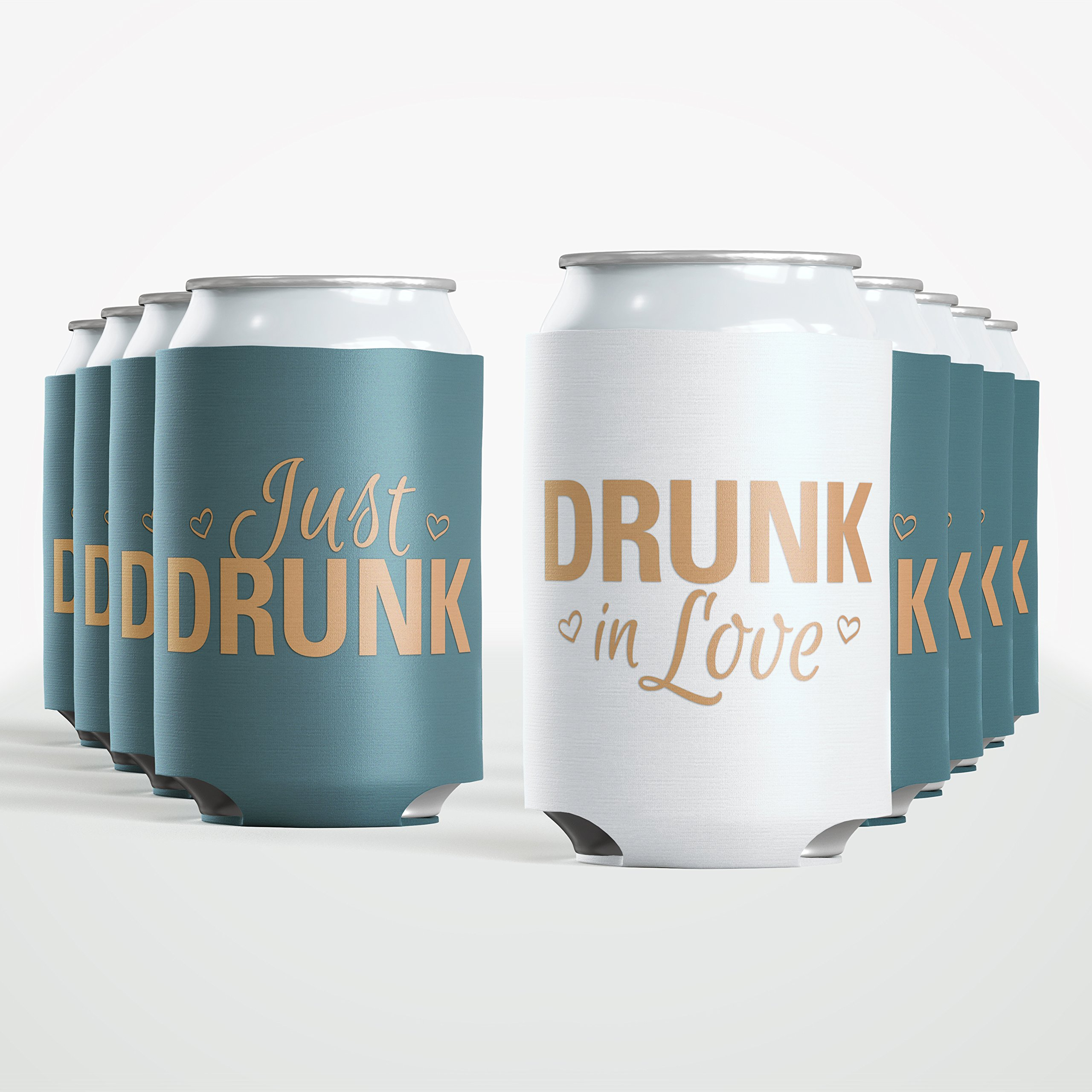 9pc Set Bride Drunk in Love & Just Drunk Favor Drink Wedding Coozies Bachelorette Party Bridal Showers & Weddings - 4mm Bottle Cooler Sleeves aka Can Coozie Full Set aka Beverage Insulators (9pc Set)