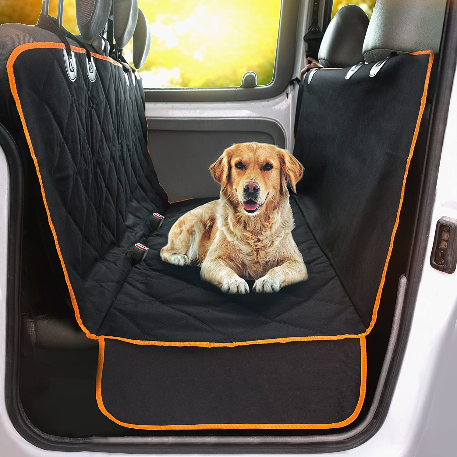 Doggie World Dog Car Seat Cover Cars Trucks And Suvs Luxury Full Protector W Extra Side Flaps Seat Belt Openings Hammock Convertible For Your