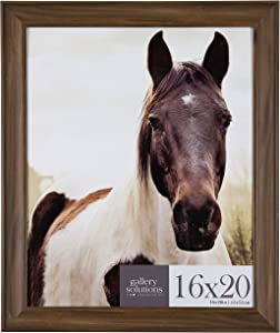 """Gallery Solutions 16x20 Large Wall Hanging Picture Poster Frame, 16"""" x 20"""", Walnut"""