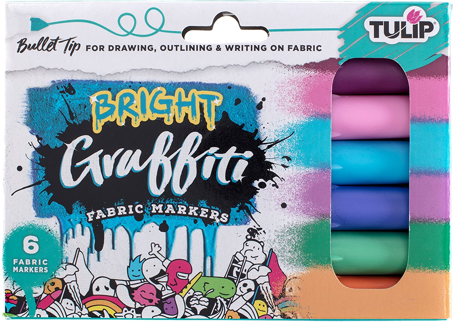 Tulip Graffiti Fabric Markers Bullet Tip 6pk, Bright, Premium Quality Ink, Permanent, Child Safe, for Fabric Painting, Drawing, Coloring, Writing on Clothes