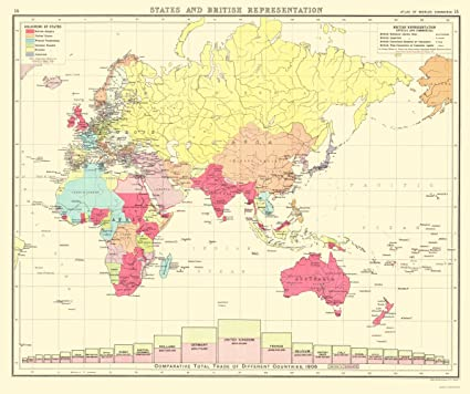 Amazon.com: Old Eastern Hemisphere Map - British Trade in Eastern ...