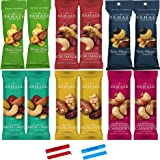 "Sahale Snacks All Natural Nut Blends Grab And Go Variety Pack (1.5 oz x 12 Packs) with 2 x 2"" Snack Clips"
