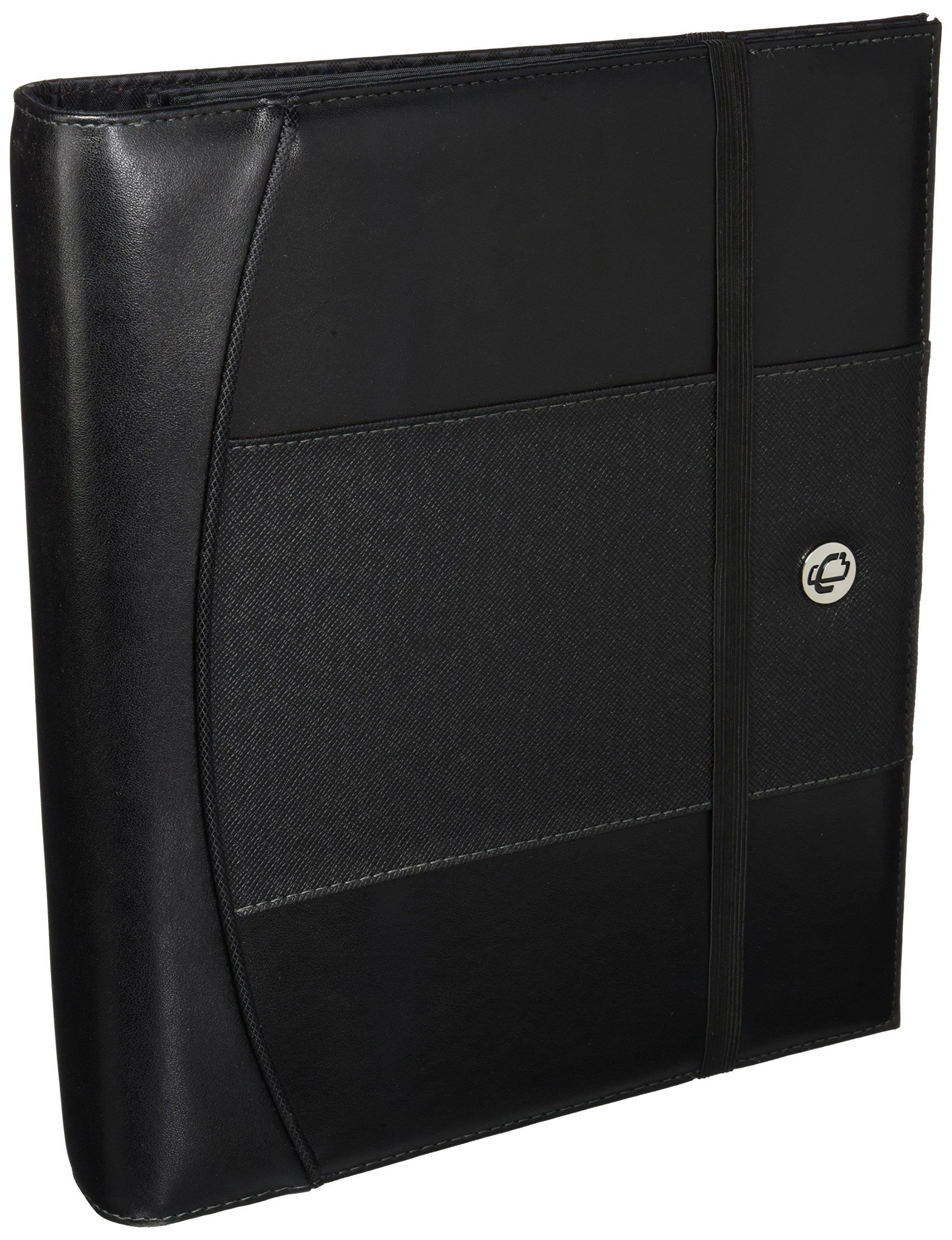Case-IT 1-inch D-Ring Binder, Elastic Strap Closure, Black (LL-PRO-126)