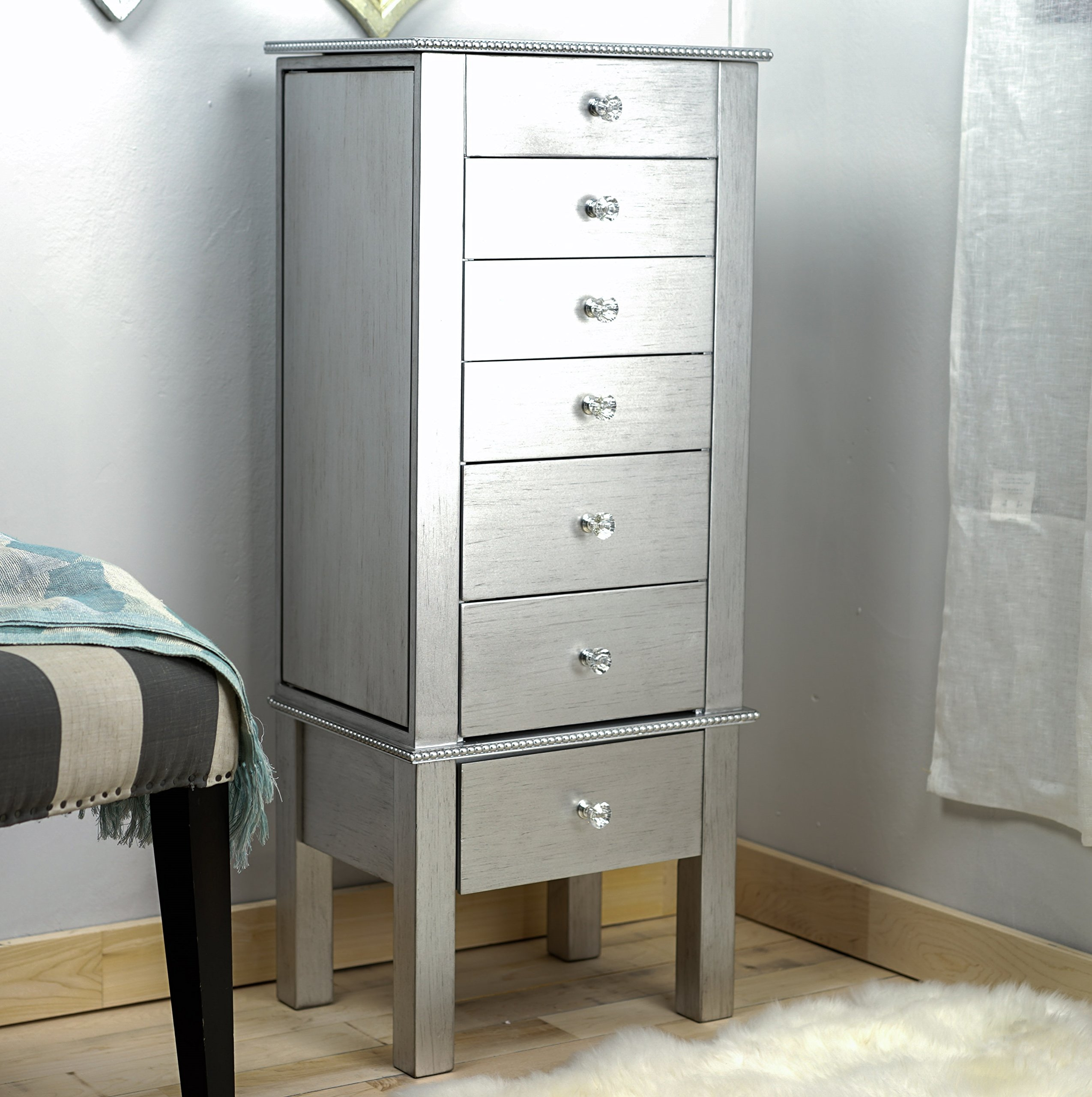 Hives and Honey ''Crystal'' Jewelry Armoire:Silver