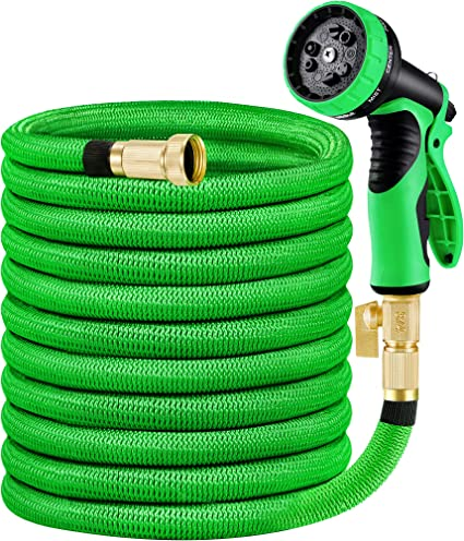 50ft Garden Hose All Expandable Water W Double Latex Core 3//4 Solid Brass Fittin