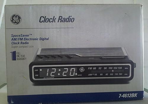 GE 7-4612BK AM FM Electronic Digital Alarm-Clock Radio