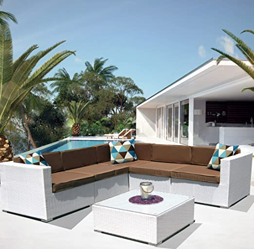 LuxuryGarden® - Set de sofás para salón con rinconera, de ratán sintético, color blanco, para exterior y jardín, modelo Kartik: Amazon.es: Jardín