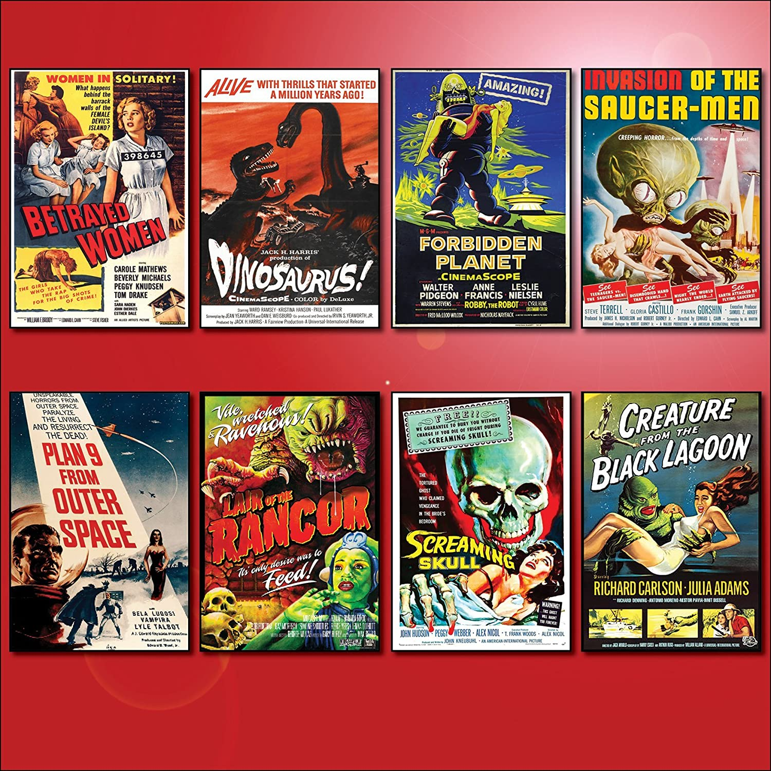 Set of 8 large fridge magnets No.2 Classic B Movie Film Poster Fridge Magnets