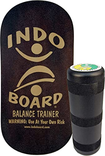 INDO BOARD Rocker Board. Comes with a 33 X 16 Non-Slip Wooden Deck and a 6.5 Roller – A High Performance Balance Board for Fitness, Sports Training and Advanced Tricks – 5 Color Choices