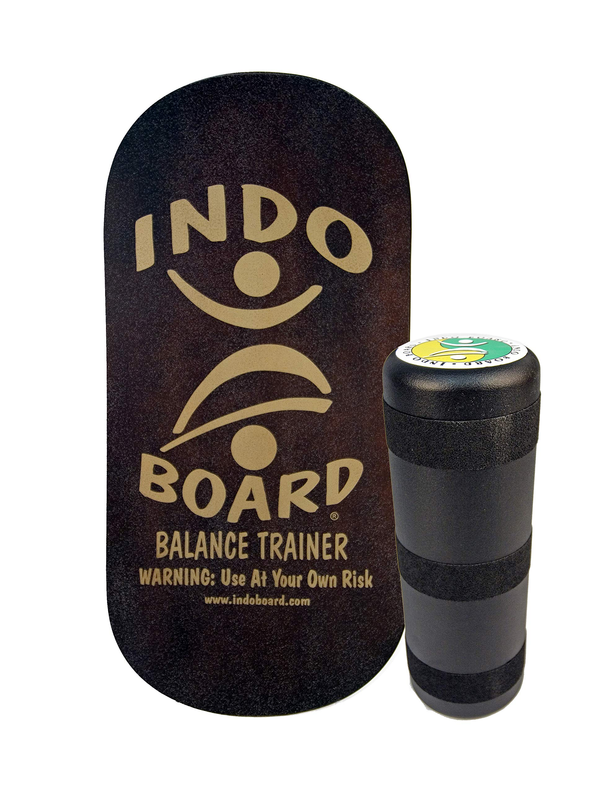 INDO BOARD Rocker 33'' X 16'' with 6.5'' Roller - High Performance Balance Board for Advanced Tricks - Mahogany Brown