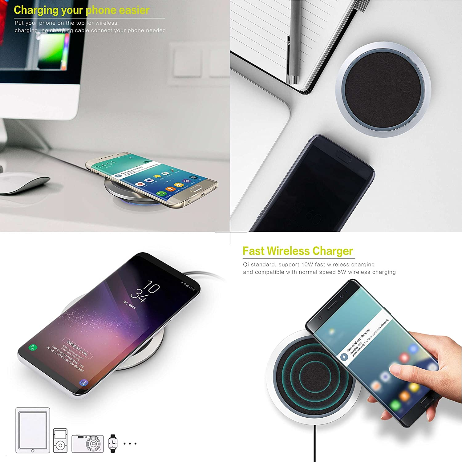 No Adapter Wireless Charger Kcpella Standard QI Wireless Charging Pad for iPhone X//8//8 Plus Fast Wireless Charge for Samsung Galaxy S9//S9+//S8//S8+//S7//Note 8 and All Qi-Enabled Phones