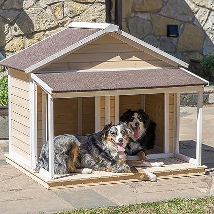 Antiguo perro (Tamaño Grande Casa w techo madera maciza Penthouse Perreras Cajas Duplex 51 x 43 ...