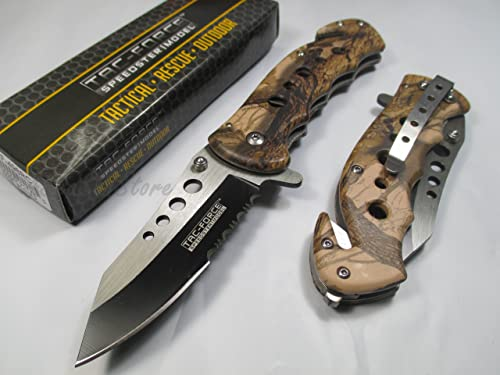 Tac Force Assisted Opening Rescue Tactical Pocket Folding Stainless Steel Blade Knife Outdoor Survival Camping Hunting – Brown Camo