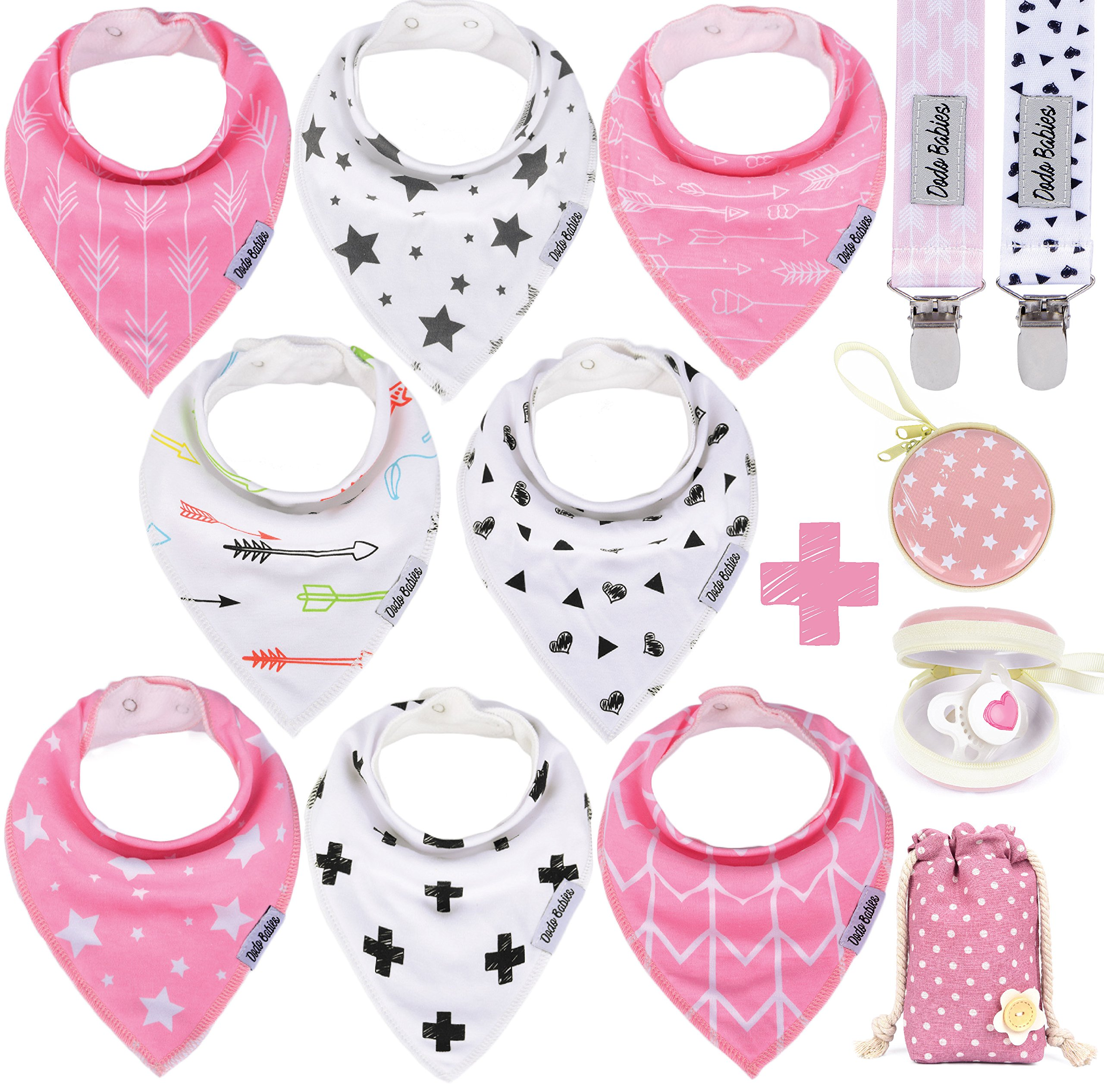 BabyBandana DroolBibs by Dodo Babies + 2 Pacifier Clips + Pacifier Case In a Gift Bag, Pack of 8 Premium Quality For Girls , Excellent Baby Shower / Registry Gift