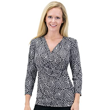 028d517de 2 For 1 Clothes Women s Solid Print V Neck 3 4 Sleeve Knit Front Drape Wrap  Jersey Tops Office Outfits Side Shirring Blouse at Amazon Women s Clothing  store ...