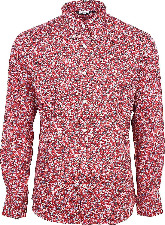Relco Hombre Rojo Floral Manga Larga con Botones 100% Camisa de Algodón: Amazon.es: Ropa y accesorios
