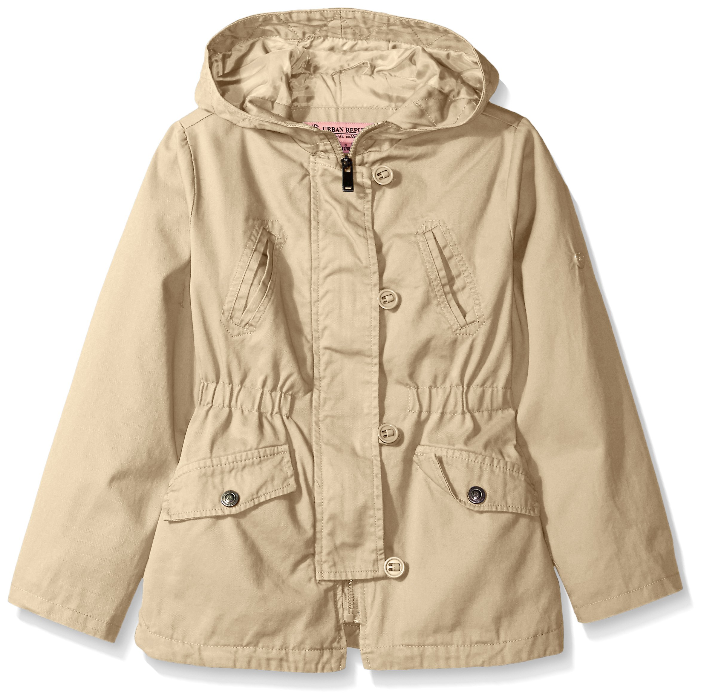 Urban Republic Little Girls' Cotton Twill Anorak Jacket, Khaki, 6X