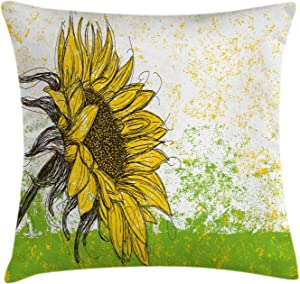 """Ambesonne Nature Throw Pillow Cushion Cover, Floral Print with Sunflowers in a Field Summer Garden Sketchy Abstract Detail Image, Decorative Square Accent Pillow Case, 18"""" X 18"""", Yellow Green"""