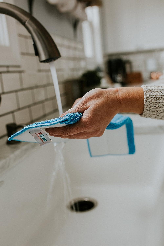 Bleues Zflow Microfibre de Poign/ée en Acier Inoxydable DE 18 Pouces Balai Laveur Humide Et Sec avec Protection Et 3 Protections Humides