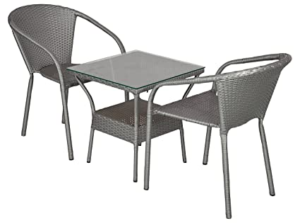 FurniFuture™ Plasma Outdoor Patio Furniture Set 2+1 - (Silver with Black Stripes)