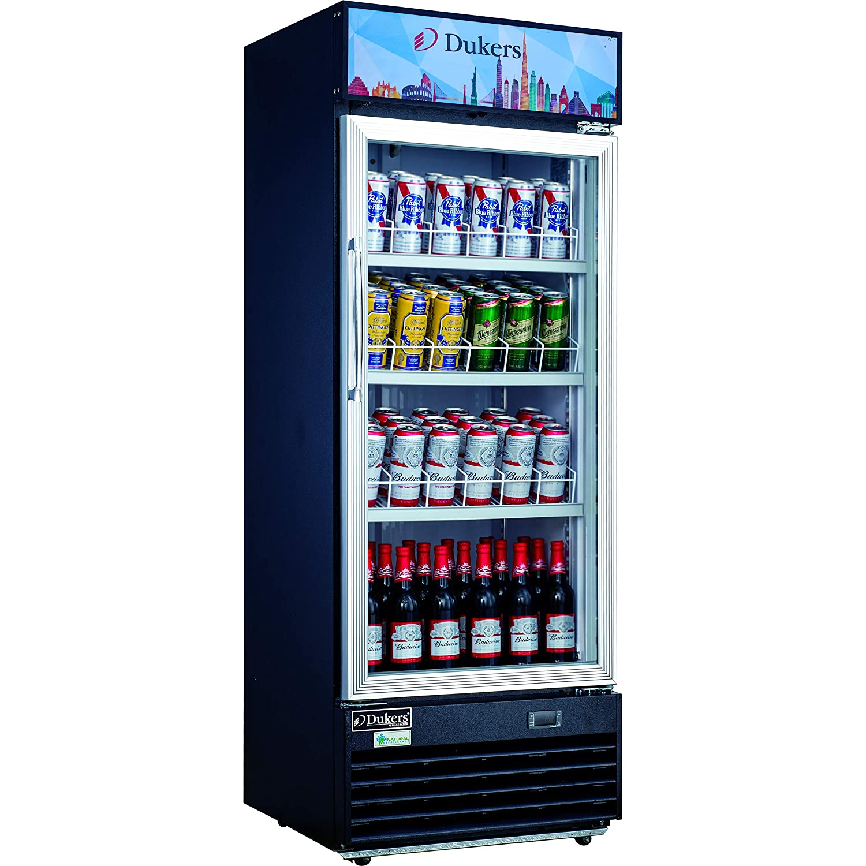 Dukers DSM-12R 11.4 cu. ft. Commercial Single Glass Swing Door Merchandiser Refrigerator