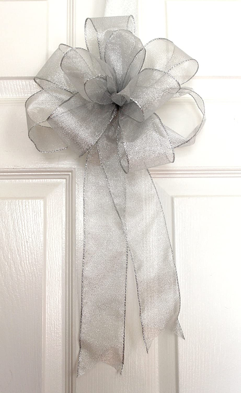 Amazon.com: Silver sheer wired ribbon bow for wreaths, Christmas ...